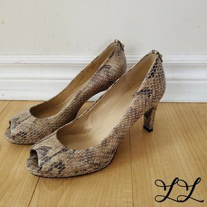Stuart Weitzman Heels Open Toe Snake Skin Leather